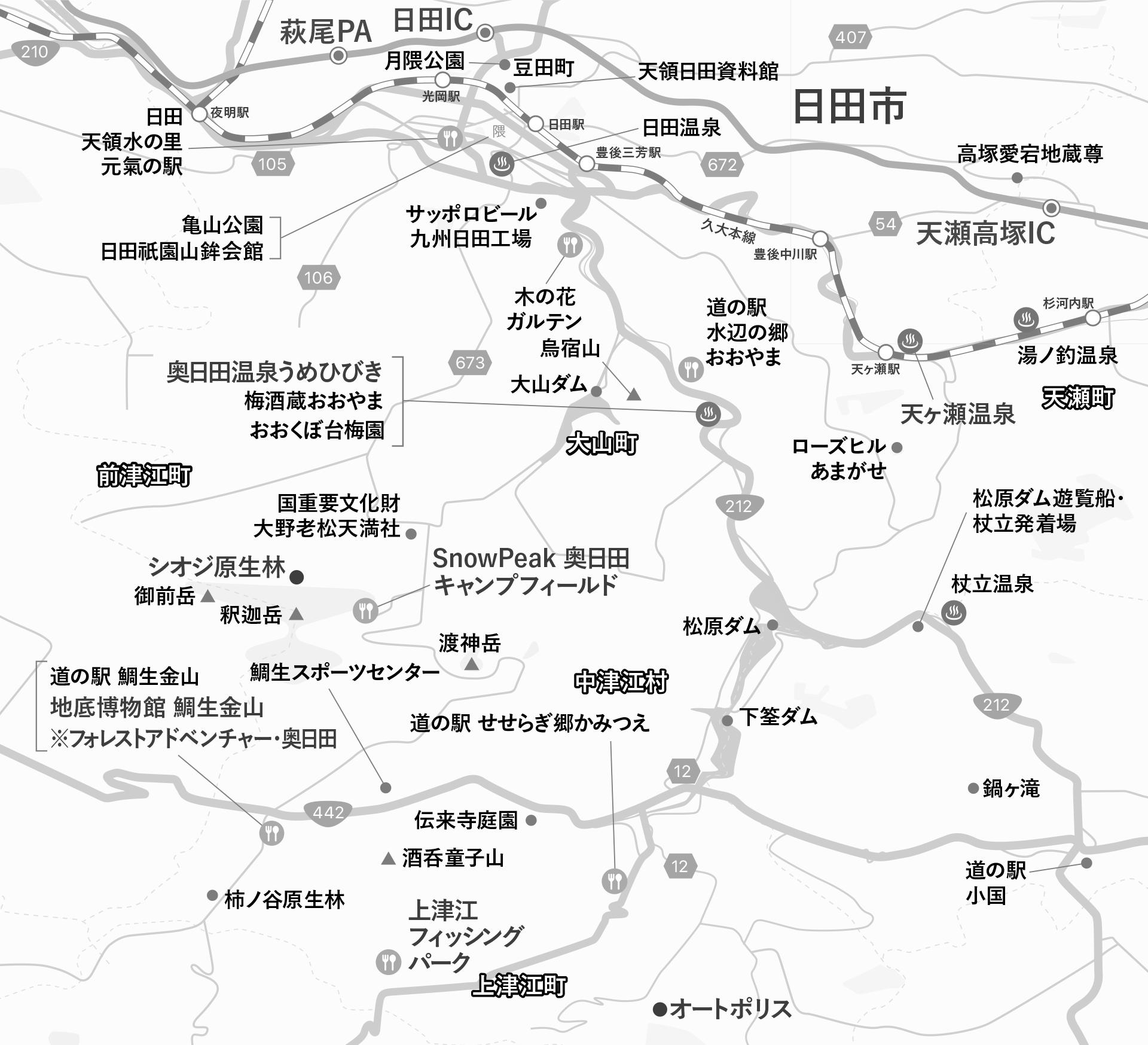 奥日田エリアマップ